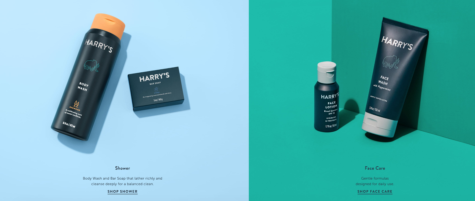 Harry's website About page design