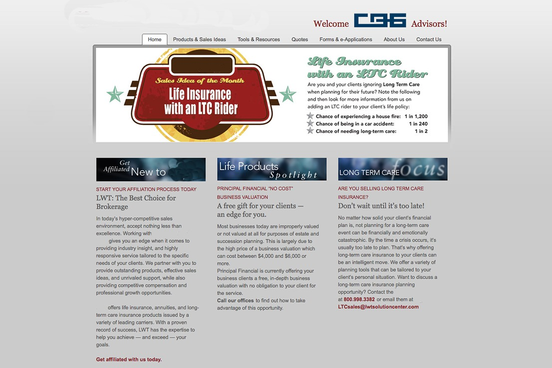 Client homepage before working with Flight Media on a redesign