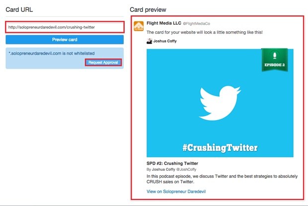Twitter Card Approval Process