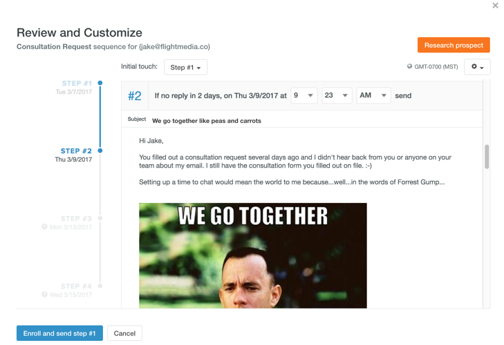 email sequence on Hubspot