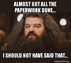 Almost got all the paperwork done, I should not have said that, Hagrid