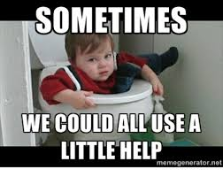 Kid in toilet, sometimes we could all use a little help